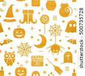 seamless halloween gold... | Shutterstock . vector #500735728