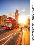 big ben against colorful sunset ... | Shutterstock . vector #500739394