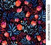 watercolor cute ornate flowers... | Shutterstock . vector #500743210