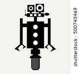 cute robot on wheel  icon  flat ... | Shutterstock .eps vector #500745469