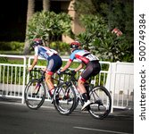 Small photo of Doha, Qatar - October 15, 2016: Defending world champion Elizabeth Deignan of Great Britain and Canadian rider Alison Jackson in the women's elite road race at the UCI Road World Championships.