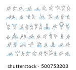 linear symbol of sportsmen.... | Shutterstock . vector #500753203