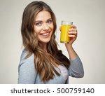 woman face portrait with orange ... | Shutterstock . vector #500759140