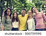 diverse group young people... | Shutterstock . vector #500759590