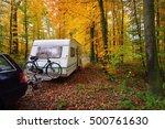 caravan trailer with bicycle... | Shutterstock . vector #500761630