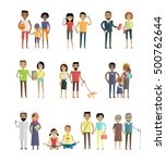smiling people characters set.... | Shutterstock .eps vector #500762644