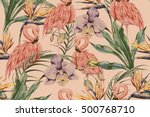 tropical flowers  palm leaves ... | Shutterstock .eps vector #500768710
