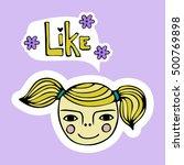 cute cartoon girl's face.... | Shutterstock .eps vector #500769898