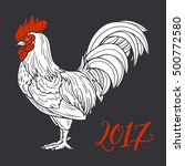 stylized red rooster hand drawn ... | Shutterstock .eps vector #500772580