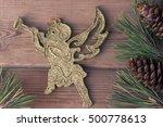 Golden Christmas Cherub And...