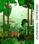 vector jungle rainforest with... | Shutterstock .eps vector #500785360