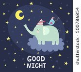 good night card with cute... | Shutterstock .eps vector #500786854