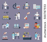 pharmaceutical production icons ... | Shutterstock .eps vector #500787553