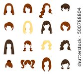 woman hair icons set with...