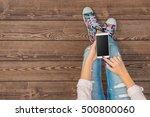young girl using white smart... | Shutterstock . vector #500800060