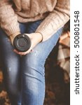 woman's hand holding paper cup... | Shutterstock . vector #500801548