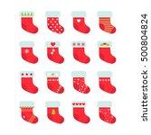 set of red christmas socks.... | Shutterstock .eps vector #500804824
