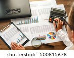 financial printed paper charts  ... | Shutterstock . vector #500815678
