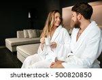 couple enjoying morning tea in...   Shutterstock . vector #500820850