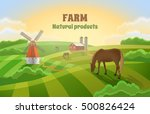 rural landscape with a mill  a... | Shutterstock .eps vector #500826424