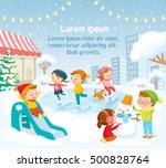 illustration  children playing... | Shutterstock .eps vector #500828764