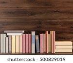 old books on a wooden shelf. 3d ...   Shutterstock . vector #500829019