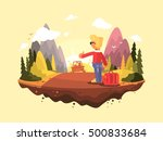 young man catches car | Shutterstock .eps vector #500833684