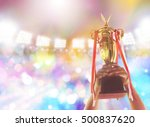 win concept.man holding up a... | Shutterstock . vector #500837620