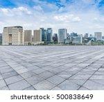 empty floor with modern skyline ... | Shutterstock . vector #500838649