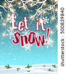let it snow  blue text on... | Shutterstock .eps vector #500839840