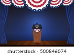 usa president podium on stage... | Shutterstock .eps vector #500846074