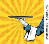 waiter hand tray presentation... | Shutterstock .eps vector #500859748