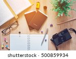 top view of passport and film... | Shutterstock . vector #500859934