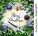 christmas design on wood | Shutterstock .eps vector #500863849