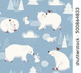 winter vector seamless pattern... | Shutterstock .eps vector #500864833