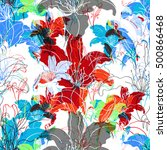 nature botanic floral seamless... | Shutterstock . vector #500866468