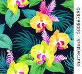 vector orchids on black. yellow ... | Shutterstock .eps vector #500867890