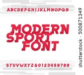 oblique alphabet vector font.... | Shutterstock .eps vector #500871349