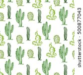 cactus seamless color background | Shutterstock .eps vector #500877043