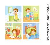 children daily routine | Shutterstock .eps vector #500889580