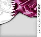Qatar Country Flag On White...