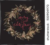 vintage christmas card with... | Shutterstock .eps vector #500904970