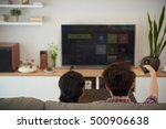 couple watching tv shows on... | Shutterstock . vector #500906638