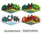 vector set of four seasons... | Shutterstock .eps vector #500923903