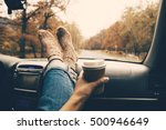 woman feet in warm socks on car ... | Shutterstock . vector #500946649