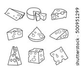 Vector Set Of Cheese Isolated...