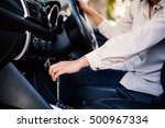 woman driving a car with hand... | Shutterstock . vector #500967334