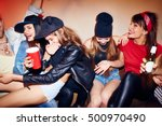 raging fun at late night party | Shutterstock . vector #500970490