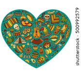 colorful vector hand drawn set... | Shutterstock .eps vector #500992579