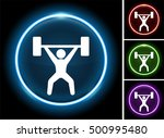 weight lifter on glow round... | Shutterstock .eps vector #500995480
